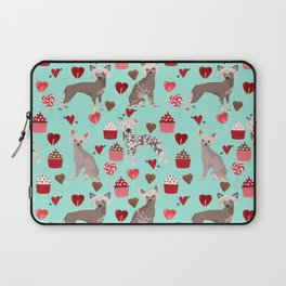 Chinese Crested valentines day cupcakes hearts gifts for unique dog breed owners love Laptop Sleeve