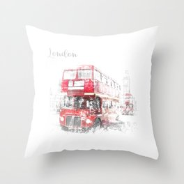 Graphic Art LONDON WESTMINSTER Street Scene Throw Pillow