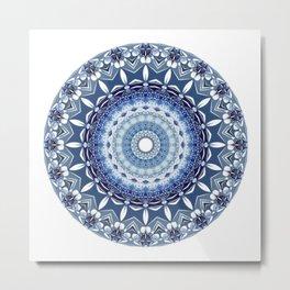Mandala in Blue Metal Print