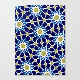 Blue & Green Mosaic Pattern Canvas Print