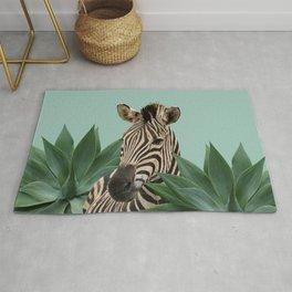 Zebra between Agave Leaves Rug