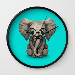 Cute Baby Elephant Calf with Reading Glasses on Blue Wall Clock