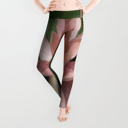 Beautiful Peach Waterlily Vector Leggings