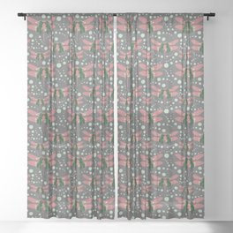 dragonflies with grey pattern 2 Sheer Curtain