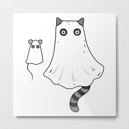 Cat Ghost & Mouse Ghost – Nightmare Metal Print