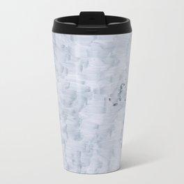 minimal abstract white paint brush texture pattern Travel Mug