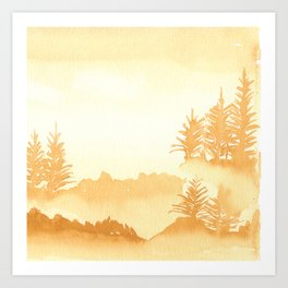Trees in the mist Art Print