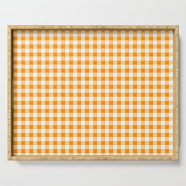 Gingham Orange and White Pattern Serving Tray