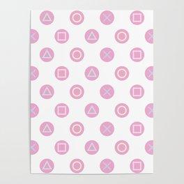 Gamer Girl - Pastel Controller Buttons Poster