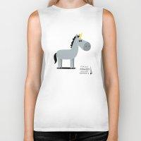 unicorn Biker Tanks featuring Unicorn by Jean-Sébastien  Deheeger