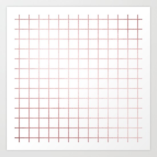 Simply Grid in Rose Gold Sunset Art Print