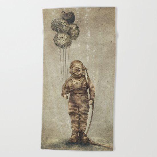Balloon Fish (Sepia) Beach Towel