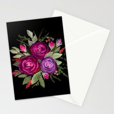 Purple roses on a black background. Watercolor . Stationery Cards