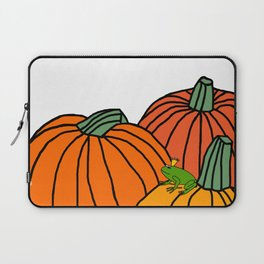 Frog Prince waiting in the Pumpkin Patch for Halloween Laptop Sleeve