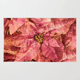 Red Spotted Pointsettia Rug