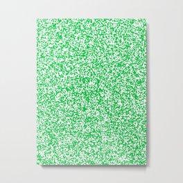 Tiny Spots - White and Dark Pastel Green Metal Print
