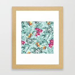 Bird of Paradise Greenery Aloha Hawaiian Prints Tropical Leaves Floral Pattern Framed Art Print