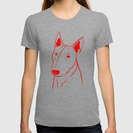 Bull Terrier (Light Blue and Red) T-shirt