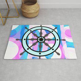 Ship's wheel on abstract marine background Rug