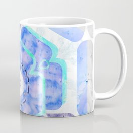 Blue Viola Hybrid Flower Abstract Art Watercolor Coffee Mug