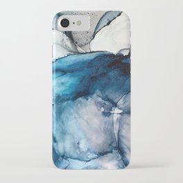 White Sand Blue Sea - Alcohol Ink Painting iPhone Case