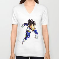 vegeta V-neck T-shirts featuring vegeta bubbles by codradical