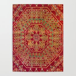 Bohemian Medallion VII // 15th Century Old Distressed Red Green Coloful Ornate Accent Rug Pattern Poster