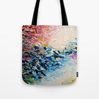 jazzberry Tote Bags featuring PARADISE DREAMING Colorful Pastel Abstract Art Painting Textural Pink Blue Tropical Brushstrokes by EbiEmporium