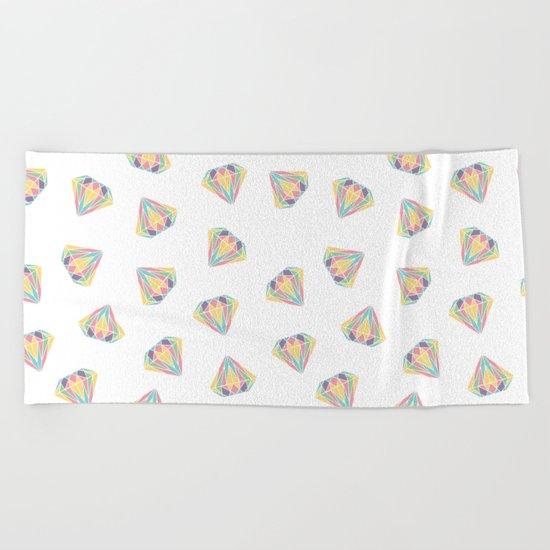 Colorful Diamonds Pattern - gemstones pattern Beach Towel