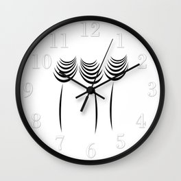 Abstract Black Ink Art Flowers Wall Clock
