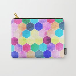 Honeycombs print, colorful hexagons Carry-All Pouch