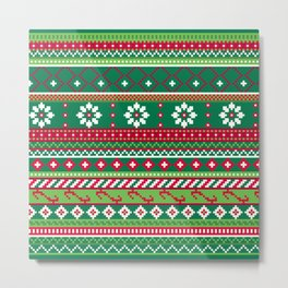 Fair Isle Christmas Pattern Metal Print