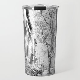 Cobble Hill Brooklyn Winter Black and White Brownstone Travel Mug