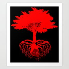 Heart Tree - Red Art Print