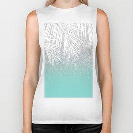Modern tropical white palm tree silver glitter ombre on robbin egg blue turquoise Biker Tank