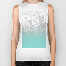 Modern tropical white palm tree silver glitter ombre on robbin egg blue turquoise Biker Tank