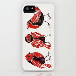 Finches – Red & Black Palette iPhone Case