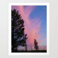 Pink Sky on a Treeline Art Print