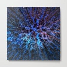 Trees & Milky Way Metal Print