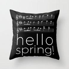 Hello spring! (black) Throw Pillow
