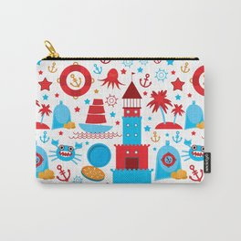 pattern with sea icons on white background. Seamless pattern. Red and blue Carry-All Pouch