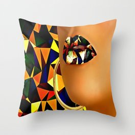 Lips in polyart Throw Pillow