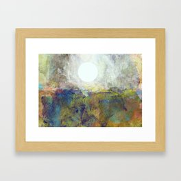 Colorful Sea and Bright Moon Framed Art Print