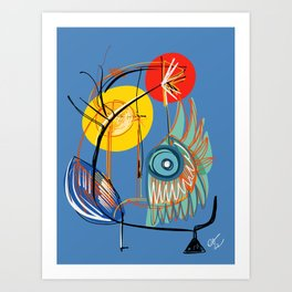 Abstract Symbol Red Sun in The Blue Sky Art Print