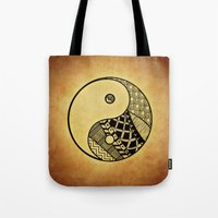 ying yang Tote Bags featuring Ying Yang by WonderfulDreamPicture