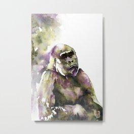 Mountain gorilla watercolor painting.  Fine art painting of mountain gorilla Metal Print