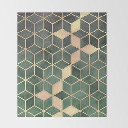 Gold Emerald green Gradient Cube Art print Throw Blanket