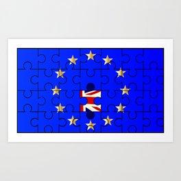 European Union Flag Jigsaw With Union Jack Art Print