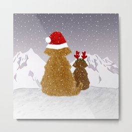 Cute Dogs Holiday Design Metal Print
