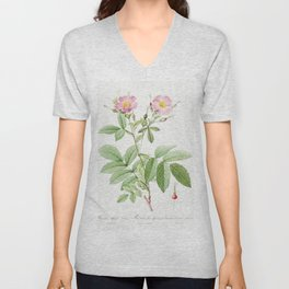 Alpine Rose, also known as Alpine Rose with Penduncle and Glaborous Calyx (Rosa alpina laevis) from Les Roses by Pierre-Joseph Redouté Unisex V-Neck